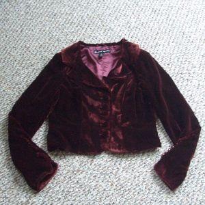 Blanc Noir maroon velvet blazer jacket M